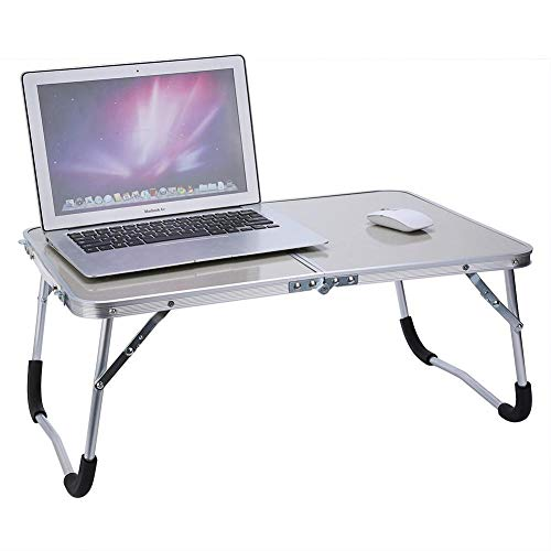 Klappbarer Laptoptisch, Multifunktionstisch Tragbar Betttisch Laptopständer, für Laptop, Frühstück Couch Lese Tisch, aus MDF-Tischplatte + Aluminiumrahmen, Tragegriff Design