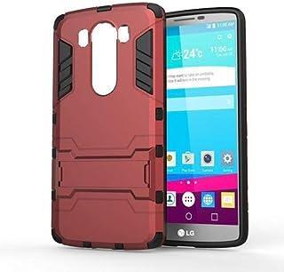 جراب مضاد للصدمات لهاتف LG V10 Iorn Man Hard Rugged Kickstand - أحمر