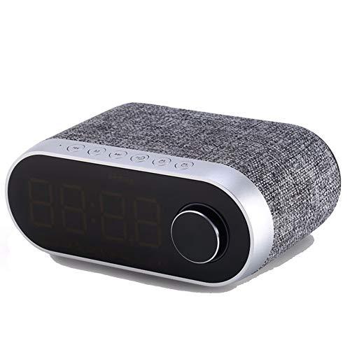 Wekker Bluetooth HiFi luidspreker slaapkamer nachtkastje radio FM wekker laptop mobiele telefoon universele speler grijs.