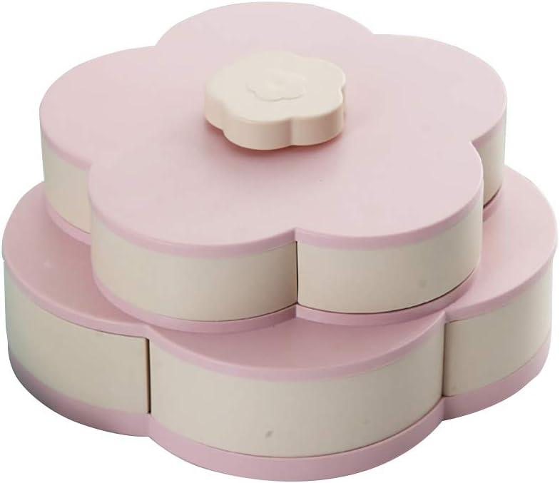 Nordic Blue Snack Box Doppeldeck Candy Dish Bl/ütenblatt rotierende getrocknete Obstteller Snacks Aufbewahrungstablett