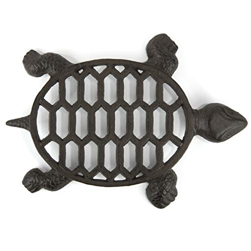 gasaré, Cast Iron Trivet, Metal Trivet, Turtle Decor, for Hot Dishes, Pots, Pans, Kitchen, Countertop, Tables, Rubber Feet Caps, Solid Cast Iron, 12 x 9 Inches Large, Rustic Brown Finish