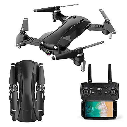 ZHAOJ GPS Drone with 2K HD Camera for Adults, Foldable Drone for Beginners, FPV RC Quadcopter with Auto Return Home, Follow Me, Circle Fly, Includes Batteries, for Adults and Beginners