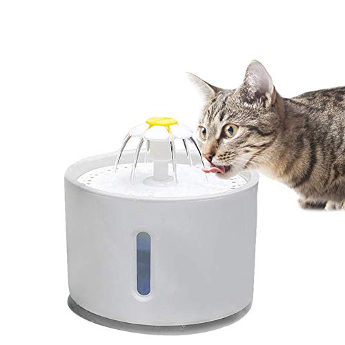 Smandy Fuente de Agua para Mascotas, 2.4L LED Cascada de Apagado automático Dispensador de Agua para Mascotas Fuente para Mascotas Fuente de Agua filtrada Fresca para Gatos Perros pequeños y medianos