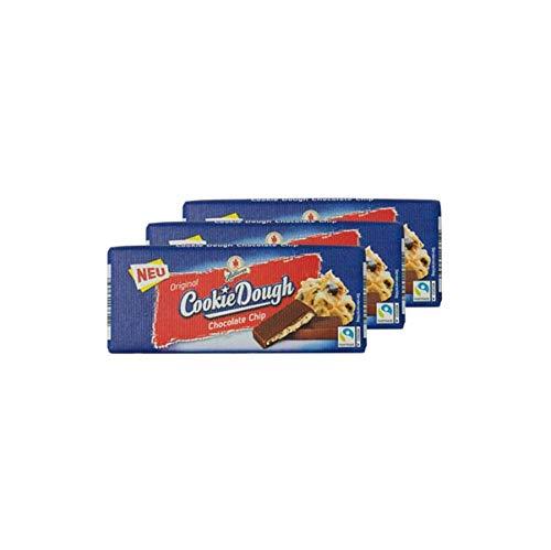 3x Halloren Original Cookie Dough Chocolate Chip Schokoladentafel • Zartbitter- & Vollmilchschokolade mit Keksteigfüllung