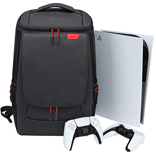BUBM Console Backpack with PS5, Large Capacity Travel Carrying Case for Sony PlayStation5 Console Digital Edition, Storage for Controller, Monitor,Headset,Game,Charger & Accessories