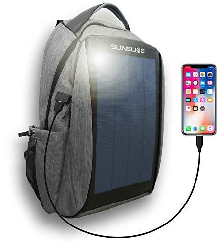 Wasserdichter Laptop Rucksack mit intergriertem Solar Paneel, Outdoor Backpack Tasche für Damen und Herren zum schnellen Laden von Geräten mit einem externen USB Anschluss, grau