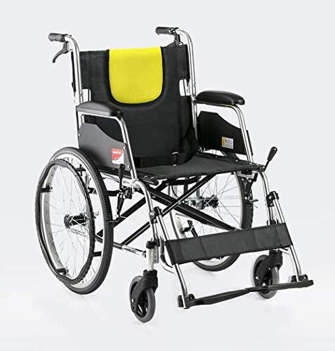 LIANGANAN Sillas de ruedas plegable ligera 12,5 kg de ruedas médico del transporte Backs cómodas Piernas 100Kg soporte de cargas 44 × los 40Cm Anchura del asiento adecuado for los ancianos Fj