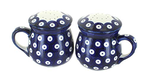 Blue Rose Polish Pottery Dots Salt & Pepper Shakers with Handles