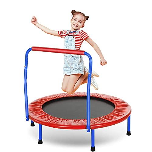 ANCHEER Trampolin Kinder 36'' Inch Mini Trampolin für Drinnen,Klappbar Fitness Kindertrampolin Indoor,Kind Minitrampolin mit Haltegriff,mit Haltegriff Belastung Bis 75kg