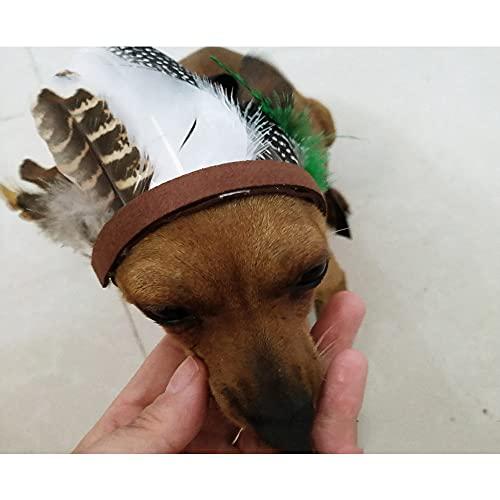 Disfraz de perro de plumas indias para mascotas, diadema, decoración de fiesta para cachorros y gatos