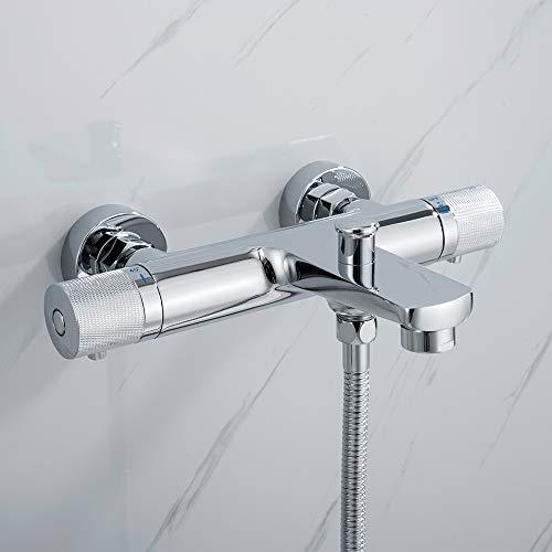 AiHom Thermostat Badewannenarmatur Chrom Wannenarmatur mit 40°C Sicherheitsknopf Wannenthermostat Wannenbatterie für Dusche und Badewanne