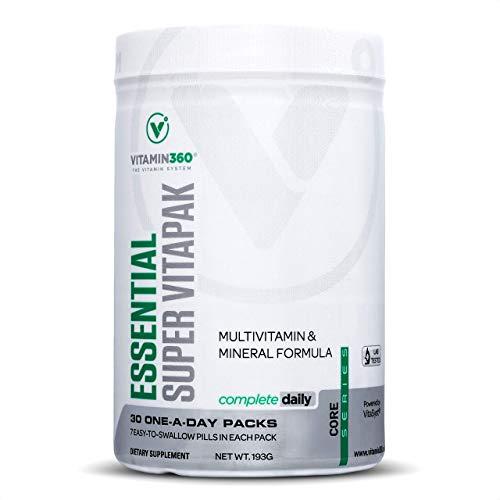 Vitamin360 Essentielles Super Vitapak | Vitamineverpakking | Vitamine A, vitamine B, vitamine C, vitamine D, vitamine E, multi-mineralen-formule | Voldoende voor 30 dagen