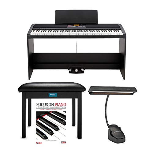 KORG XE20SP 88 Weighted Keys Digital Piano with Stand and 3 Pedals Bundle with Knox Gear Bench, Piano Light, & Piano Book/CD (4 Items)
