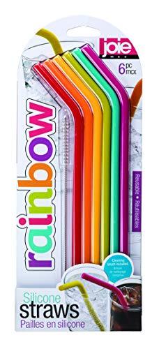 Joie Rainbow Pajitas reutilizables de silicona con cepillo de limpieza, juego de 6