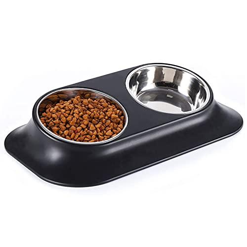 Bwelcam 2x400 ml Katzennäpf,15 ° Neigung Hundenapf,Futternäpfe Katzen Hunde, Futternapf Katzen rutschfest Doppelter Edelstahl ,Futterschüssel Katze,Futternapfkatze,katzenschüssel Set