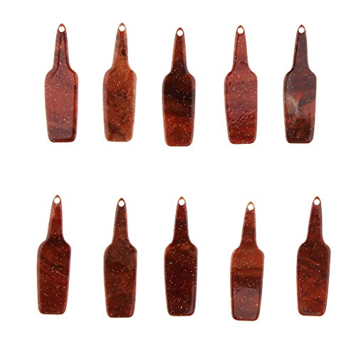IPOTCH Multicolor 10pcs DIY Acrílico Cuentas Colgantes de Botella de Cerveza, DIY Ornamento de Artesanía - marrón