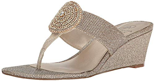 Adrianna Papell Womens Casey Split Toe Casual T-Strap Sandals, Platino, Size 5.0