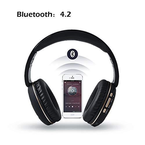 Drahtloses Headset Bluetooth 4.2 Stereo OverEar Faltbare Kopfhörer Eingebautes Mikrofon(Schwarzes Gold)