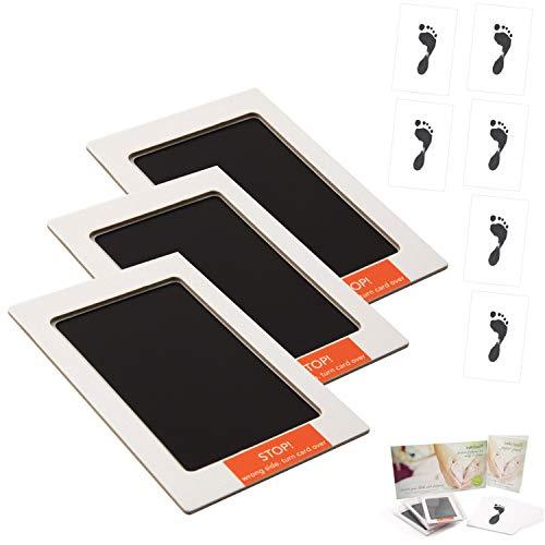 Baby Footprint Kit - No Mess 3er Pack - Neugeborene bis 6 Monate - fertig zum Einrahmen 15,2 x 10,2 cm