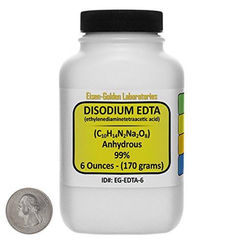 Disodium EDTA [C10H14N2Na2O8] 99% ACS Grade Powder 6 Oz in a Space-Saver Bottle USA
