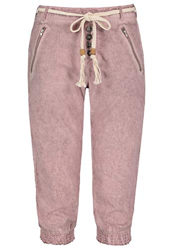 Sublevel Damen Baumwoll Capri Stoff-Hose mit Bindegürtel Light-Rose M