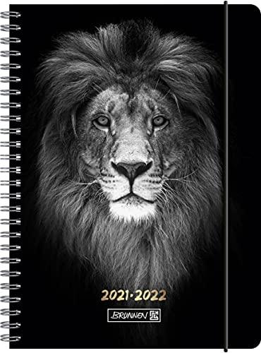 """BRUNNEN 1072155062 Schülerkalender 2021/2022 (18 Monate) """"Lion"""" 2 Seiten = 1 Woche, Blattgröße 14,8 x 21 cm, A5, PP-Einband"""