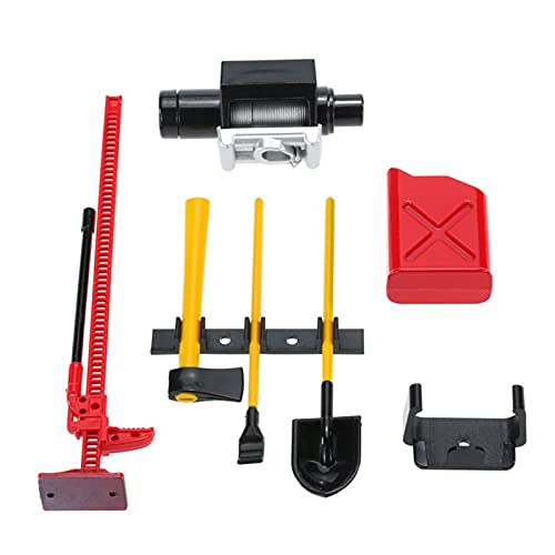 RUIZHI RC Rock Crawler Accesorios Kits de Herramientas Decorativas Pala Excavadora Tanque de Combustible Cabrestante Alto para Coche RC 1/10 D90 D110 SCX10
