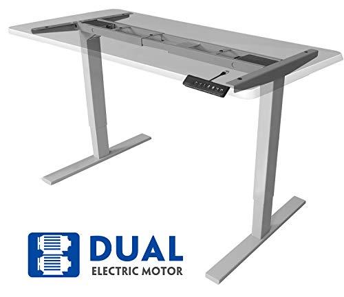 MAIDeSITe Höhenverstellbarer Schreibtisch mit 2 Motoren Elektrisch Höhenverstellbares Tischgestell, 2-Bühne Hebe Passt für alle gängigen Tischplatten Beine|Kollisionsschutz|MemoryFunktion(Grau)