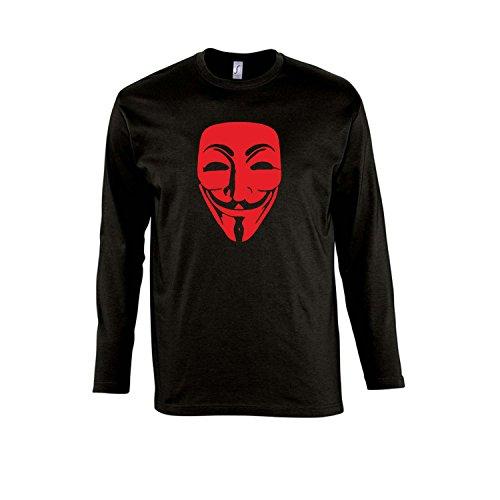 Anonymous Maske, Guy Fawkes, Acta, Vendetta Kult-Shirt - Herren Langarm Longsleeve T-Shirt S-XXL, Deep Black - rot, S
