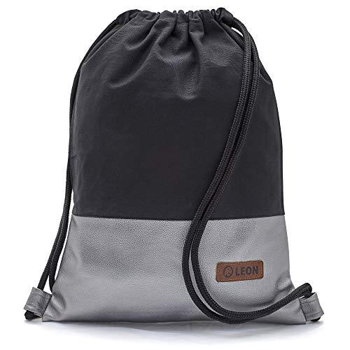 By-Bers LEON Tasche Turnbeutel Rucksack, Design unifarben mit Kunstlederboden, Sportbeutel Gym Bag Gymsack Hipster Fashion, Schwarz_silbermetallic, flach 34cmx45cm +-1cm