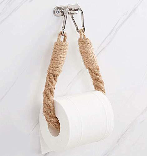 Guoyun - Desrollador de cuerda de madera, papel higiénico vintage, industrial náutico, soporte de rollo de papel higiénico para puerta de cuarto de baño