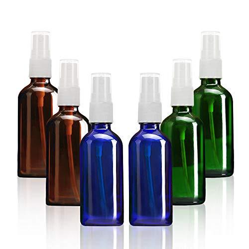 SHINEZONE 100ml アルコールスプレーボトル スプレーボトル容器 遮光瓶 ガラス製容器 霧吹き 6本セット 消...