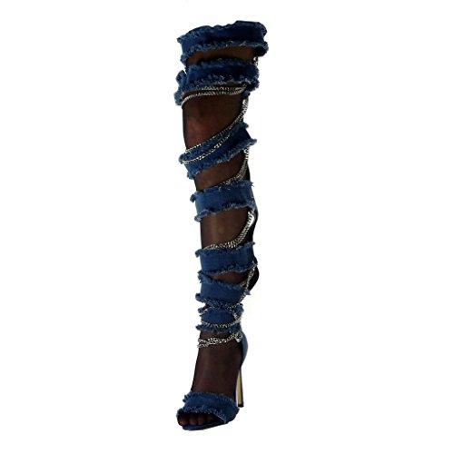 Angkorly - Damen Schuhe Oberschenkel-Boot Stiefel - Stiletto - Offen - Jeans Denim - Kette - zerrissene - ausgefranst Stiletto high Heel 11.5 cm - Blau B7815 T 40