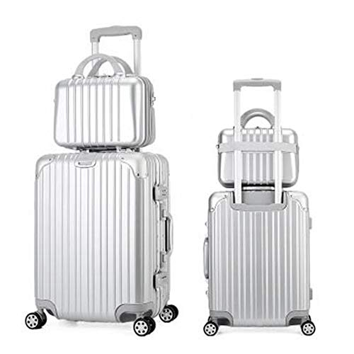 Caishuirong Luggage Trolley Case Set Actor Student Suitcase 14 Inch Cosmetic Case Fancy Suitcase Travel Bag For travel and business trips (Color : Silver, Size : 20inch)