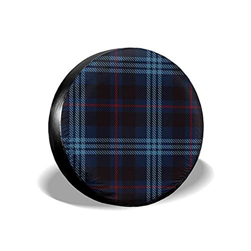VINISATH Tire Cover Spare Wheel Tire Cover,Check Tartan Rojo Negro y Azul Plaid Franela Patrones Azulejos para Escoceses,Wheel Covers for Trailer RV SUV Truck Camper Travel Trailer Accessories 14inch