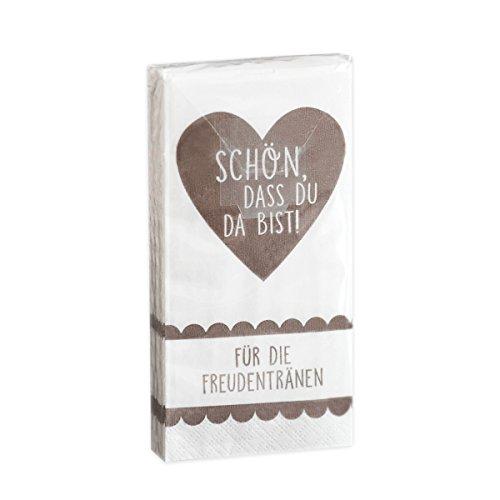 10 x 10 Taschentücher 'Schön, DASS du da bist - Für die Freudentränen' Taupe Vintage zur...