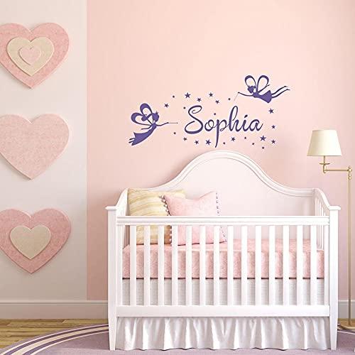 HGFDHG Nombre calcomanías de Pared Hada mágica Princesa habitación de bebé niños niñas Dormitorio decoración del hogar Pegatinas de Vinilo Personalizadas
