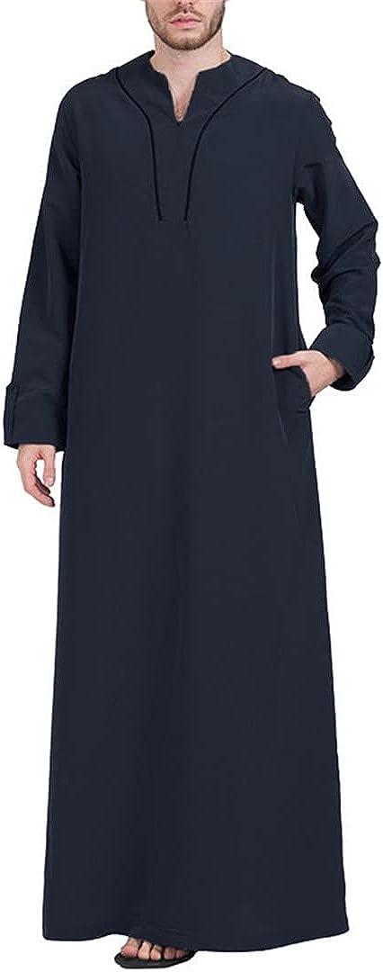 Eyastvgnf Mens Muslim Clothes Long Sleeve V Neck Casual Arabia Men Robes Abaya Dubai Arabic Islamic Kaftan