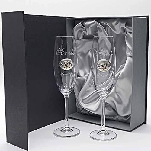 la galaica | Juego de 2 Copas para Champagne o Champán de Cristal | Regalo Ideal para Bodas de Oro, Plata, 25 o 50 Aniversario | Colección Gastro | Aplique Bilaminado | Grabación Personalizada
