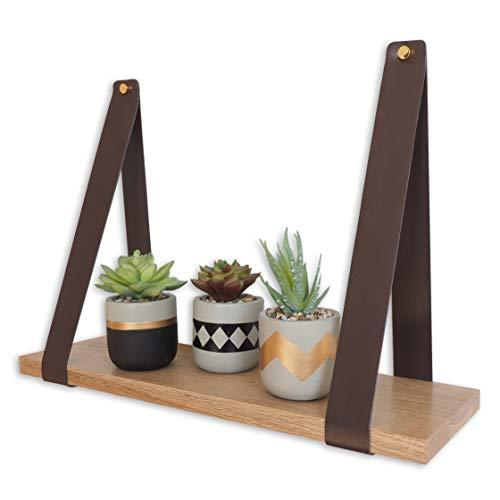 Gadgy Wandregal Holz | Schwebendes Regal | Braun Kunstleder und Massive Eiche | Wanddeko Holz | Dekorative Hängeregal | 50 x 15 x 2 cm