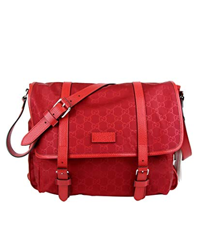 Made of nylon; Adjustable leather shoulder strap; Silver hardware; Facing flap with leather belts Exterior zip pocket; Interior slip and zip pockets; Features: Adjustable Strap Measurements: Length: 14; Height: 11.5; Depth: 4; Width: 14; Strap Drop: ...
