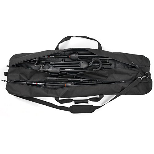 Microphone Stands Gig Bag by Hola! Music, Dual Compartment, 50 Inch Long with Shoulder Strap