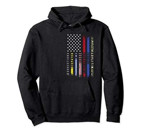 First Responders Hero Flag Nurse EMS Police Fire Military Pullover Hoodie