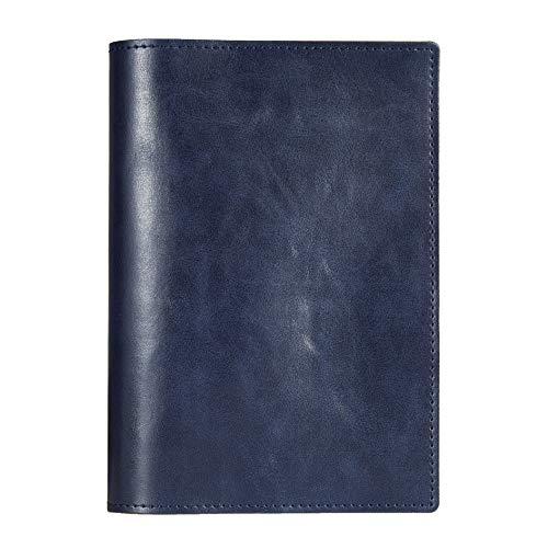 Felicita ブックカバー PUレザー 合皮 しおり付き ポケット付き ノートカバー ネイビー A6(文庫本) サイズ FTBC02-PU-NV4