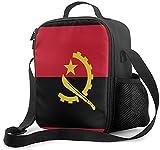 Isolierte Lunchtasche mit Angola-Flagge, auslaufsicher, flach, Kühltasche mit Schultergurt für Damen & Herren, geeignet für Arbeit & Büro
