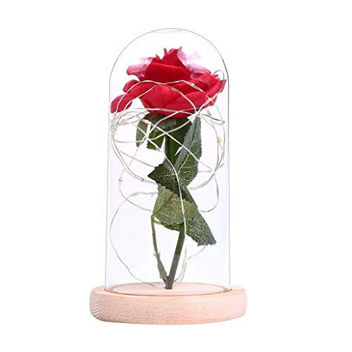 Romantische Rosen-Glasabdeckung für Festivals, Geburtstagsgeschenk, LED-Mikro-Landschaft, Heimdekoration Gr. Einheitsgröße, beige