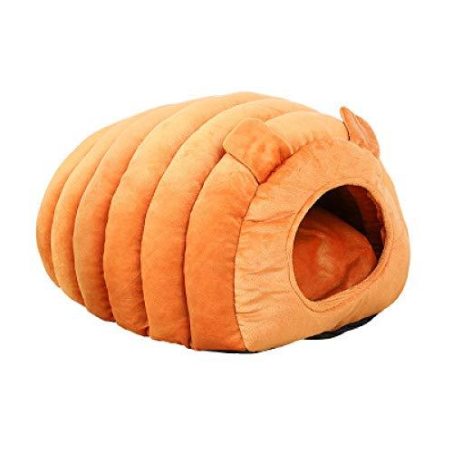TAIGE Nido de gato Nido de ovejas semi-cerrado, perro pequeño, cachorros, gatos, gatitos, conejos, fondo antideslizante impermeable naranja 47 x 38 x 32 cm