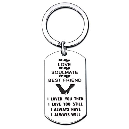 Couple Key Chain Valentine Gifts to My Love/Soulmate/Best Friend I Love You Then and I Always Will