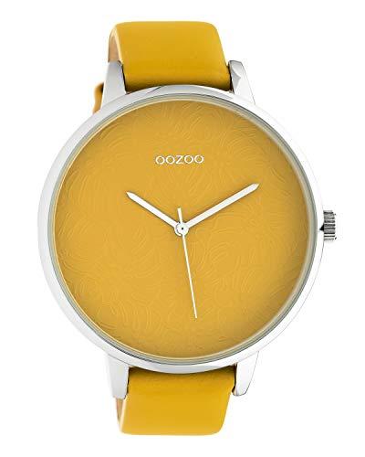 Oozoo dameshorloge met design wijzerplaat en lederen band 48 MM mosterdgeel C10574