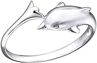 Silvernshine Jewels donna .925 sterline d'argento Delfino Regolabile Anello del dito del piede